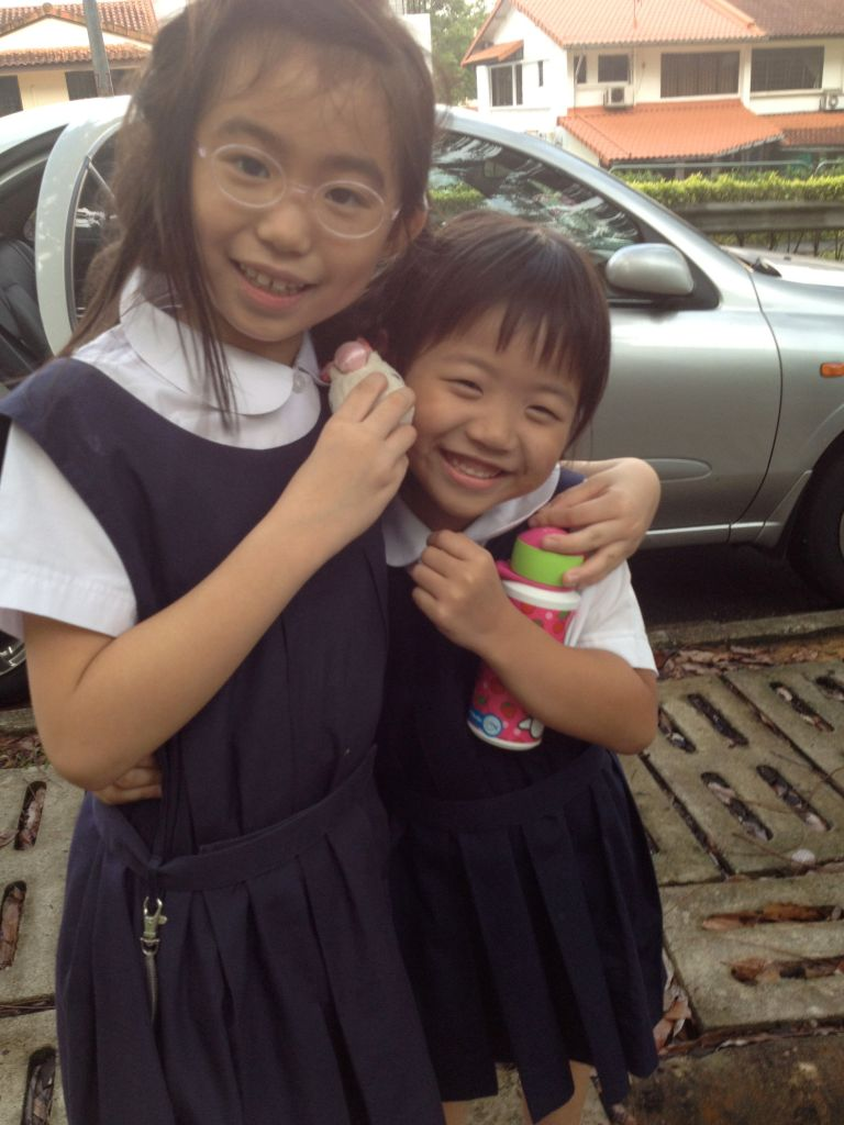 April, the month where G has finally more or less settled down in school. The past few months were super trying on all involved, we were all very relieved when G motivated herself to attend school without much fussing. Here is a happy G after school with her Best Friend D.