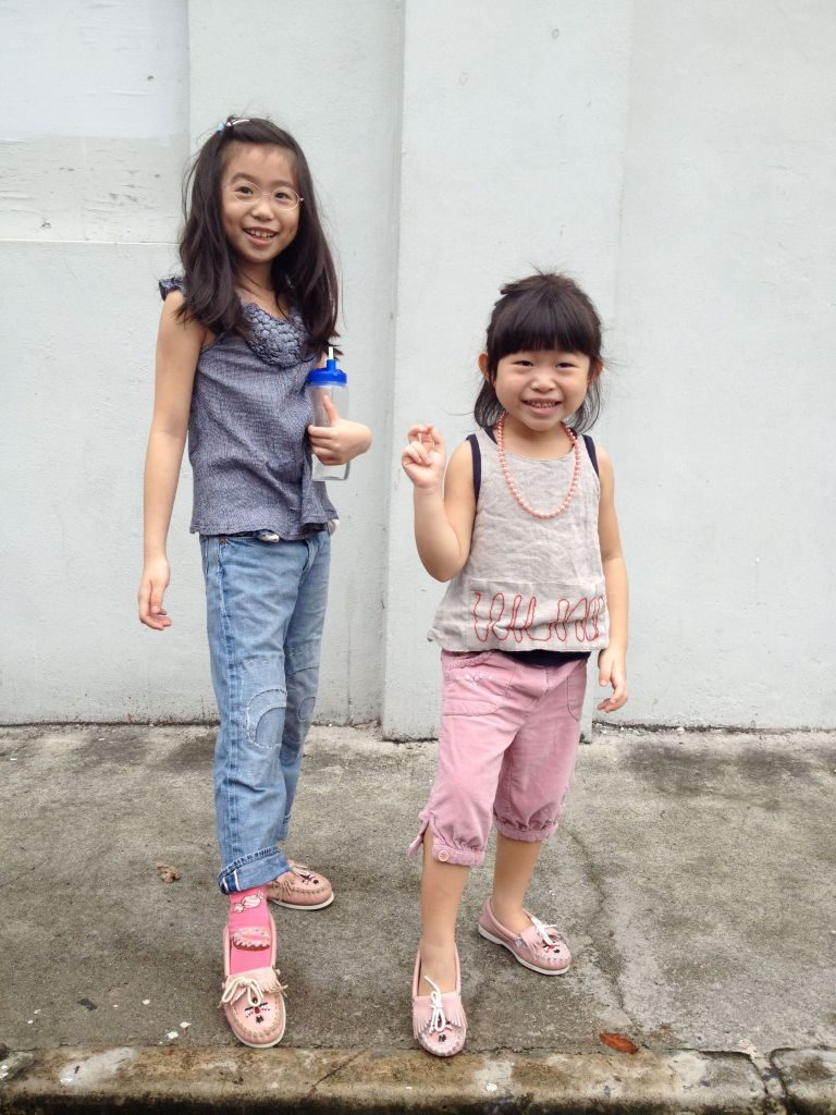 Girls are growing taller and taller everyday! G especially.... her jeans are all too short now and we have to keep buying her new clothes and shoes. :)