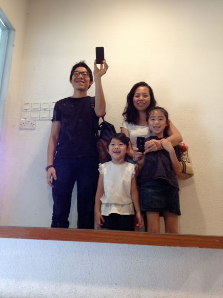 We also went to the Science Centre. Here's another mirror family photo!