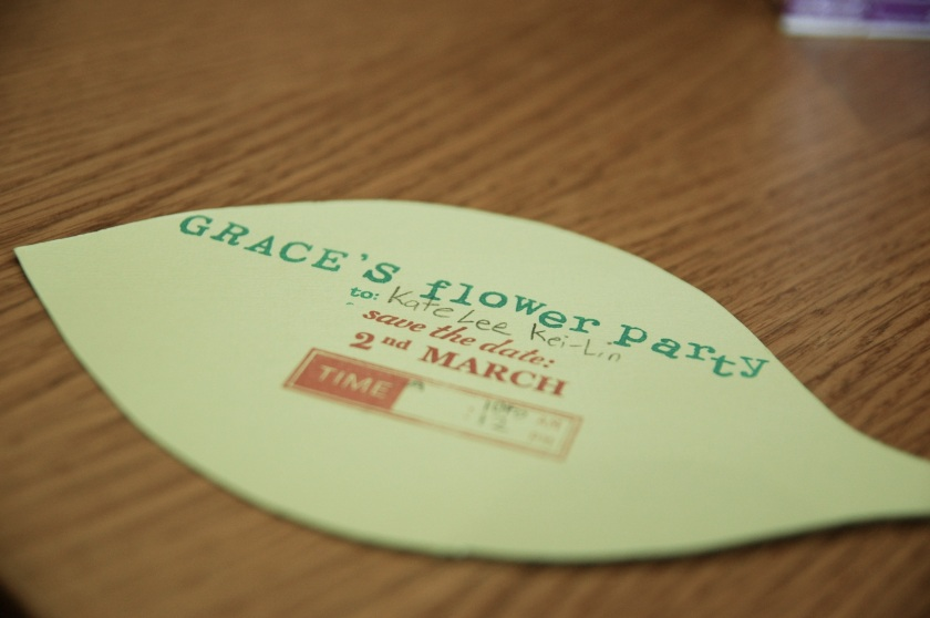 "We made the invitation cards by stamping onto various shades of green cardstock with my trusty ""october afternoon"" stamps :)"