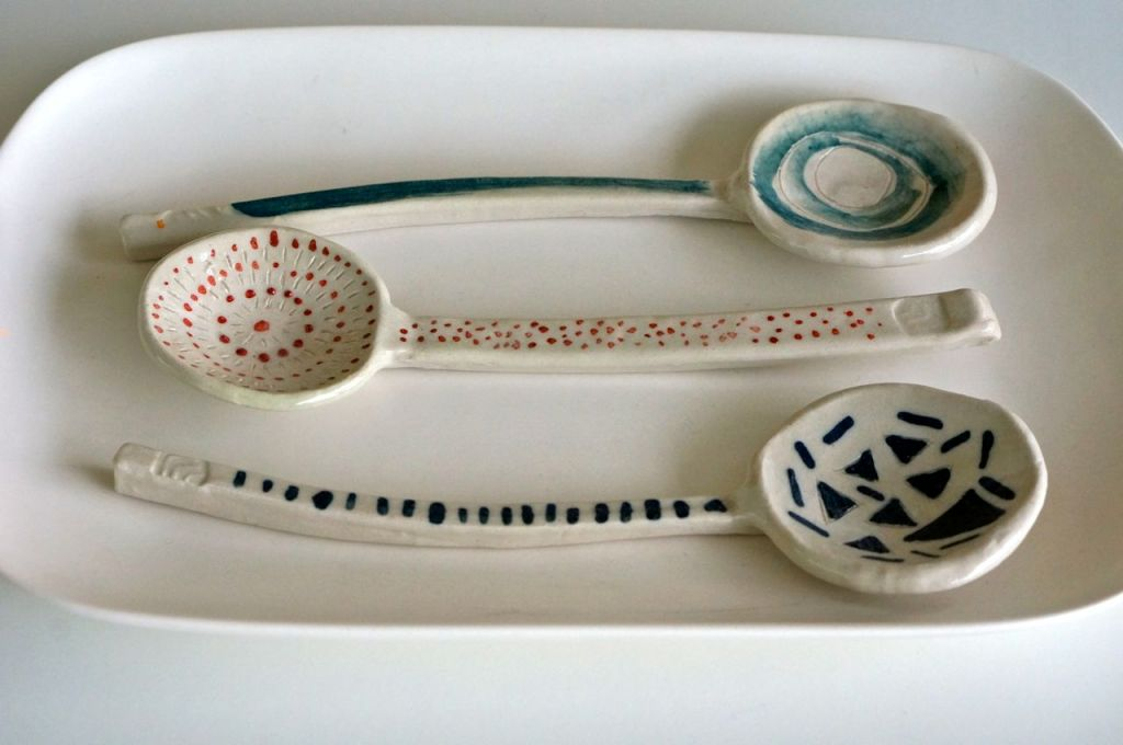 One of my favorite non-pot projects - making spoons! love how the patterns on these turned out.