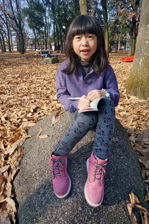 We had fun picking up leaves and sticking them into her journal