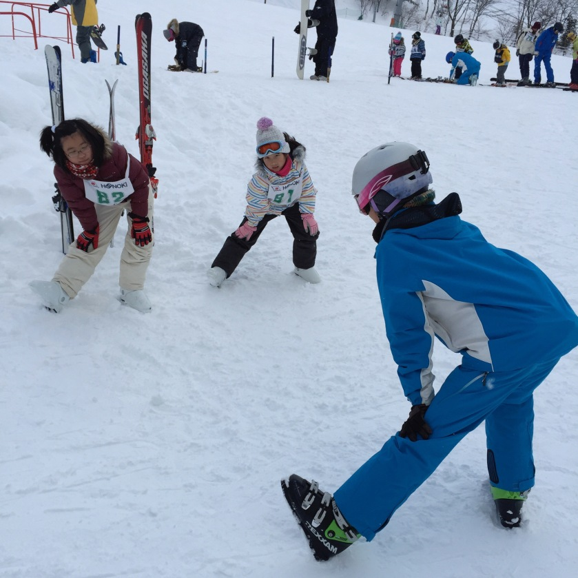 We signed G up for a half day beginner's lesson. Lucky her the ski instructor spoke a little english, and it was only her and 1 other girl in the class, so it was almost a private class! :)